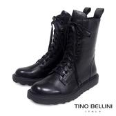 Tino Bellini 率性兼具舒適柔軟真皮軍靴 _ 黑 VI1031E