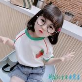 2020兒童上衣洋氣女寶寶夏裝棉質t恤女童半袖黑色圓領小童短袖 OO9684『科炫3C』