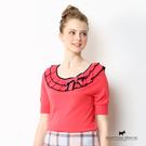 領邊蝴蝶結雙層荷葉領針織上衣 Scottish House【AA1467】