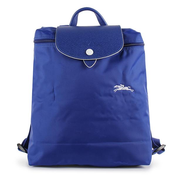 Longchamp Le Pliage刺繡LOGO折疊尼龍後背包(鈷藍色)480210-P24