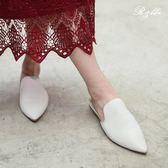 真皮休閒鞋-R&BB羊皮*極簡歐美尖頭穆勒鞋 優雅平底懶人涼拖包鞋-白色