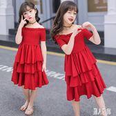 夏季新款女童洋裝 時尚中大童雪紡一字肩蛋糕裙 兒童雪紡連身裙 CJ4930『麗人雅苑』