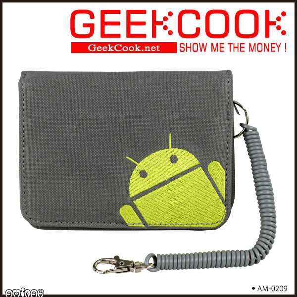 GEEKCOOK - ROBOT 安卓 短夾 捲線繫帶設計 灰色 AMINAH~【am-0209】