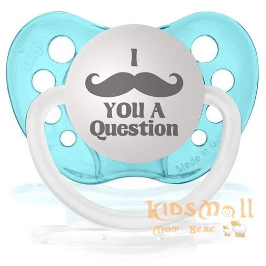 美國 ulubulu ,個性化造型安撫奶嘴,德國製I Mustache You a Question-Turquoise