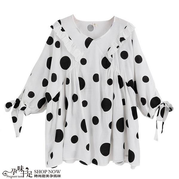 滿版黑白配色大點點孕婦上衣 白色【CWH1589807】孕味十足 孕婦裝