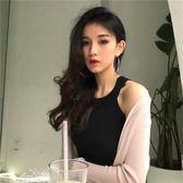 chic韓風性感露肩上衣無袖掛脖吊帶背心女修身純色女裝針織打底衫「夢娜麗莎精品館」