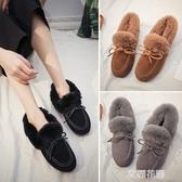 韓版毛毛鞋豆豆鞋雪地靴女加絨棉鞋2019冬季新款百搭防滑孕婦女鞋『艾麗花園』