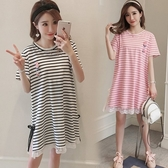 初心 洋裝 【D8182】 條紋 短袖 蕾絲 拼接 連身裙
