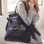 Maison de FLEUR ♡ 光澤感兩側綁帶手提包/袋 - Maison de FLEUR