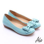 A.S.O 舒適通勤 全真皮點點蝴蝶結飾奈米平底鞋  淺藍
