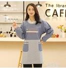 韓版時尚長袖純棉女罩衣成人可愛反穿衣帶袖圍裙廚房做飯圍裙 草莓妞妞