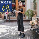 《BA4483》浪漫約會系列~排釦設計綁帶連身寬褲 OrangeBear