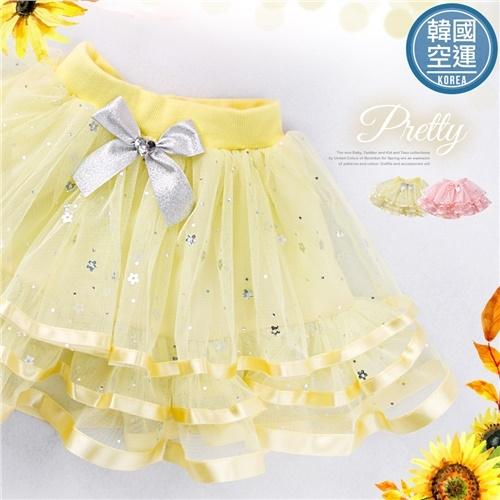 韓國童裝~亮片花朵蛋糕雪紡層紗超蓬蓬裙(250291)★水娃娃時尚童裝★