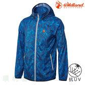荒野 WILDLAND 男款抗UV輕薄印花外套 0A61986 中藍色 排汗外套 防曬外套 OUTDOOR NICE
