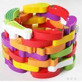 寶寶益智游戲層層疊疊高抽積木制蔬菜疊疊樂幼兒童玩具 QG28726『優童屋』