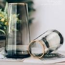 花瓶 輕奢描金花瓶網紅透明玻璃客廳花器擺件裝飾創意簡約北歐水養插花【快速出貨八折下殺】