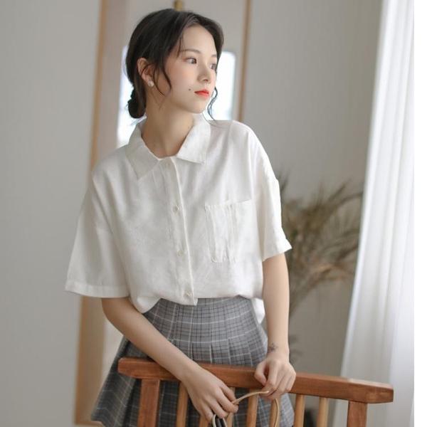 短袖襯衫 減齡可愛軟妹雪紡小襯衫女文藝復古短袖襯衣2021新款甜美上衣白色 韓國時尚 618