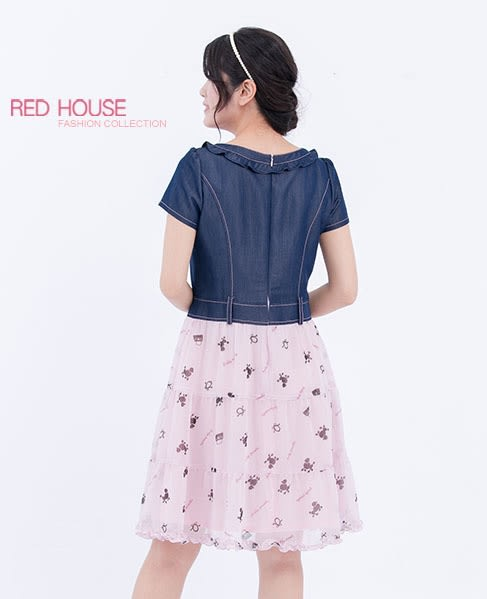 RED HOUSE-蕾赫斯-印花雪紡牛仔洋裝(共2色)