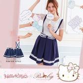 裙子 Hello Kitty x Ruby 聯名款-鉤花蝴蝶結滾邊吊帶裙-Ruby s 露比午茶