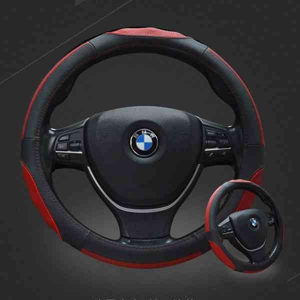 真皮 汽車 方向盤套 方向盤皮套 方向盤 保護套 皮革 舒適 防滑 耐磨 車用 車上 『無名』 N01105