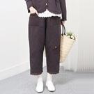 正韓 蕾絲拼布夾棉保暖長褲 (9701) 預購