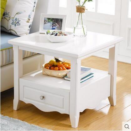 實木角幾沙發邊桌客廳小茶几白色方幾邊櫃