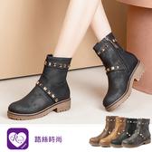 韓系個性百搭特色鉚釘圓頭方跟短靴/4色/35-43碼 (RX1141-HQ915) iRurus 路絲時尚