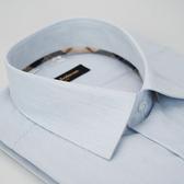 【金‧安德森】經典格紋繞領藍色條紋長袖襯衫