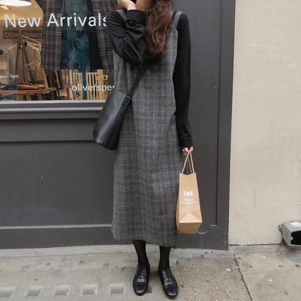 毛呢裙 韓國法式少女初戀桔梗裙毛呢吊帶裙兩件套百搭中長款格子連衣裙潮 歐歐