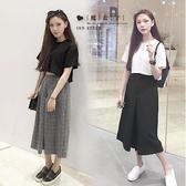 【QV0665】魔衣子-極簡鬆緊腰寬鬆百搭七分褲裙