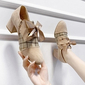 復古皮鞋2021新款春季英倫小皮鞋女復古高跟鞋子女深口小香風粗跟單鞋女鞋 JUST M
