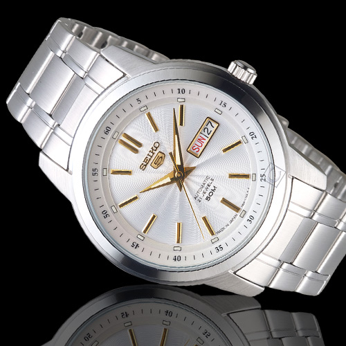 SEIKO精工5號21石盾牌機械腕錶 7S26-03Z0G SNKM85J1 銀白