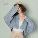 PUFII-牛仔外套 後排釦水洗車線牛仔外套- 0512 現+預 夏【CP18534】
