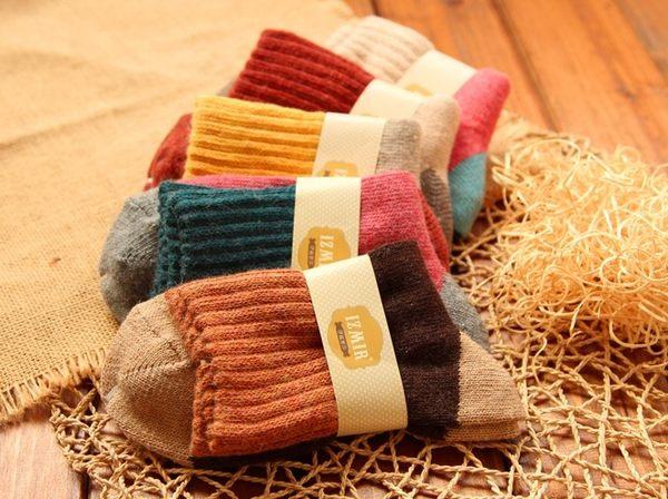 [協貿國際]  三色拼接加厚保暖兔羊毛襪毛圈襪 (3個價)
