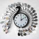 鐵藝術掛鐘 田園掛鐘錶 客廳鐘 孔雀造型