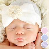 針織花朵棉感嬰兒帽 胎帽 嬰兒攝影造型 針織帽