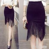 半身裙女高腰中長款包裙彈力一步裙胖mm短裙包臀裙春新大碼流蘇裙 茱莉亞