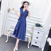 夏季連衣裙女2018新款韓版名媛氣質西裝領收腰不規則大擺裙A字裙