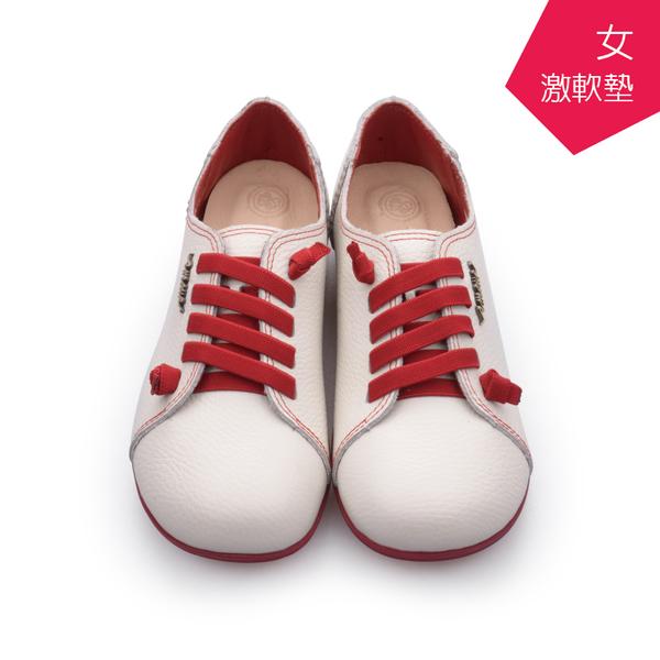 【A.MOUR 經典手工鞋】頂級牛革饅頭 - 紅白 / 氣墊鞋 / 平底 / 頂級小牛皮 / 超軟饅頭鞋 / DH-2818