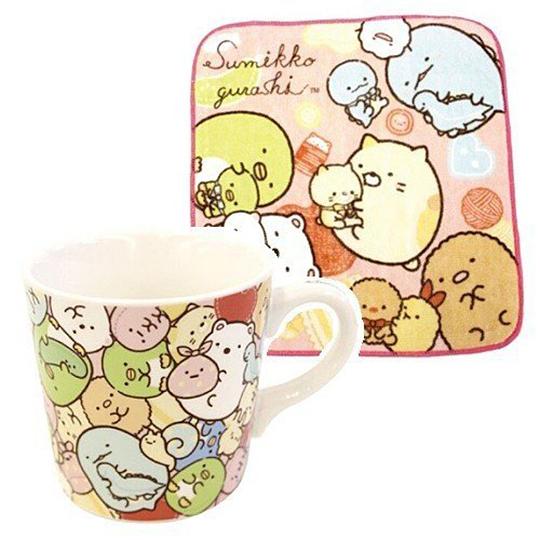 小禮堂 角落生物 陶瓷馬克杯 附方巾 咖啡杯 茶杯 水杯 手帕 260ml (粉黃 抱愛心)10563