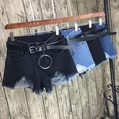 牛仔短褲 韓版高腰破洞顯瘦修身毛邊熱褲大碼