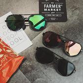夏季新款情侶防曬太陽鏡男女潮流正韓圓形反光遮陽眼鏡炫彩墨鏡