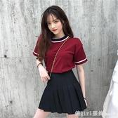 短袖裙裝 夏季新款港味時尚套裝裙女洋氣短袖T恤氣質百褶短裙小個子兩件套 開春特惠