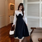 假兩件連身裙 秋季2020年新款女假兩件顯瘦娃娃領長袖中長款連身裙法式黑色裙子 萬聖節狂歡