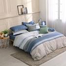 鴻宇 雙人特大薄被套床包組 100%精梳純棉 特調藍 台灣製C20107