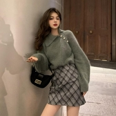秋冬新款溫柔風設計感小眾寬鬆翻領套頭外穿長袖毛衣女兩件套 雅楓居