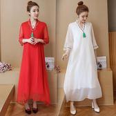 連衣裙 新款加肥加大尺碼女裝胖妹妹寬鬆顯瘦長裙中國風刺繡V領連衣裙