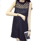 寬鬆顯瘦鏤空蕾絲無袖洋裝 (黑 白)二色售  (M7SS) 11750019