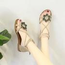 涼鞋女士夏季新款學生百搭小跟仙女風旗袍平底鞋ins潮2020年 韓國時尚週