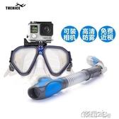 潛水鏡 裝備面罩全乾式呼吸管面鏡防霧成人    雙12